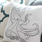 Traced Octopus Pillow from Tea Towels