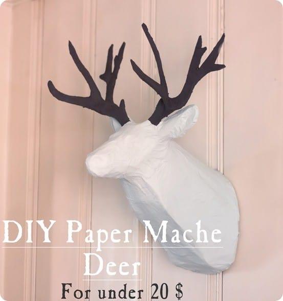 Paper Mache Deer Head Wall Décor