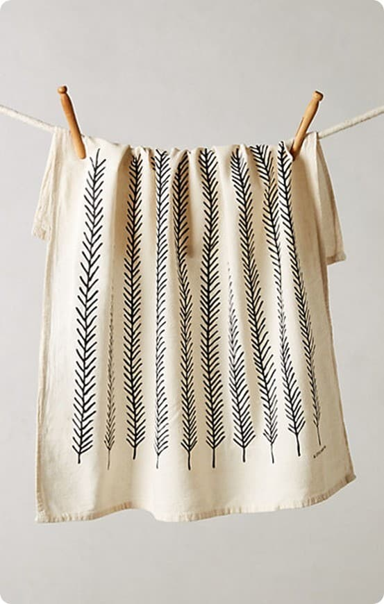fringed feather dishtowel