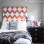 Coral, White, and Wood Geometric Headboard