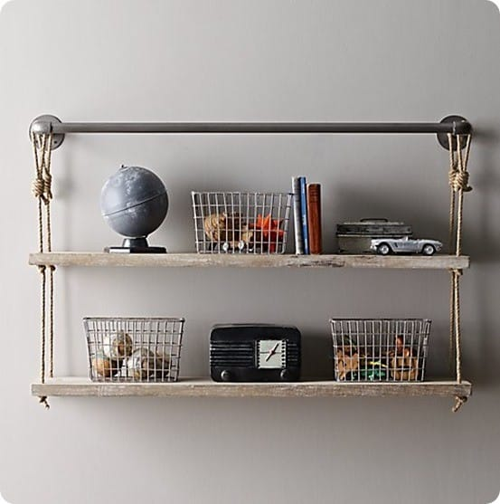 industrial pipe and rope shelf rh baby and child