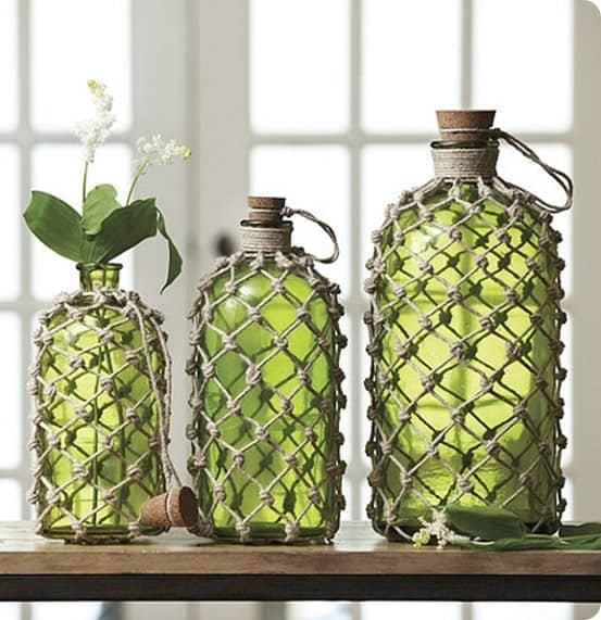 knotted jute demijohns