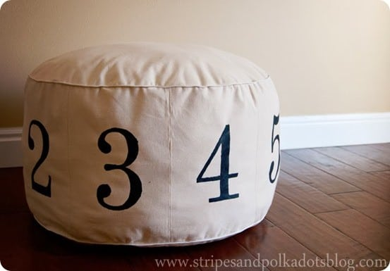 sew your own numbers pouf. Black Bedroom Furniture Sets. Home Design Ideas