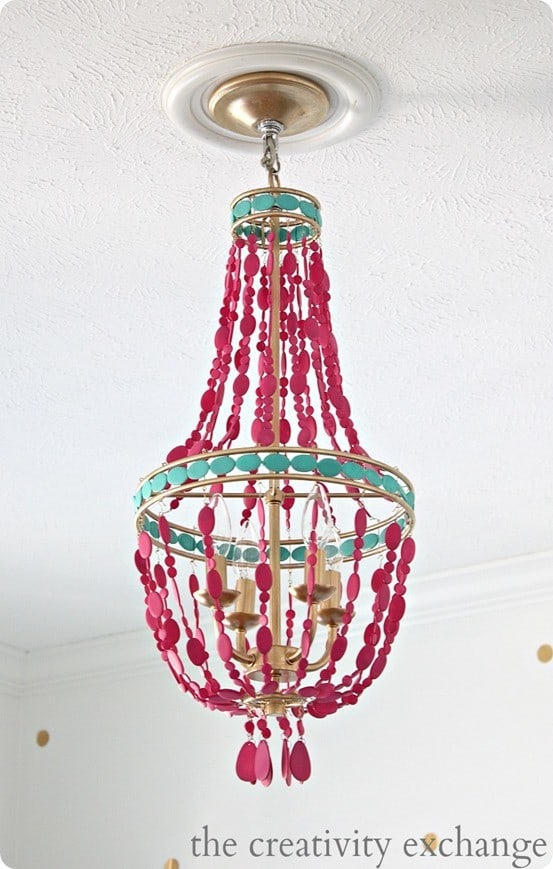 Hot Pink Painted Bead Chandelier Knockoffdecor Com