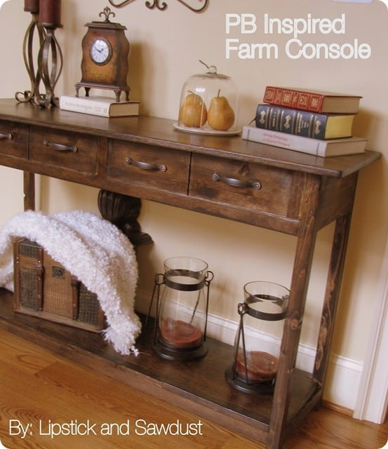 pb inspired farm console table