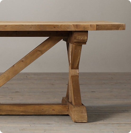 salvaged wood x base dining table