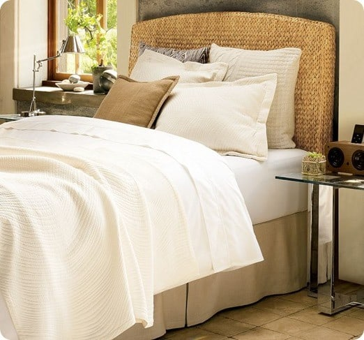 Stunning seagrass headboard from pottery barn
