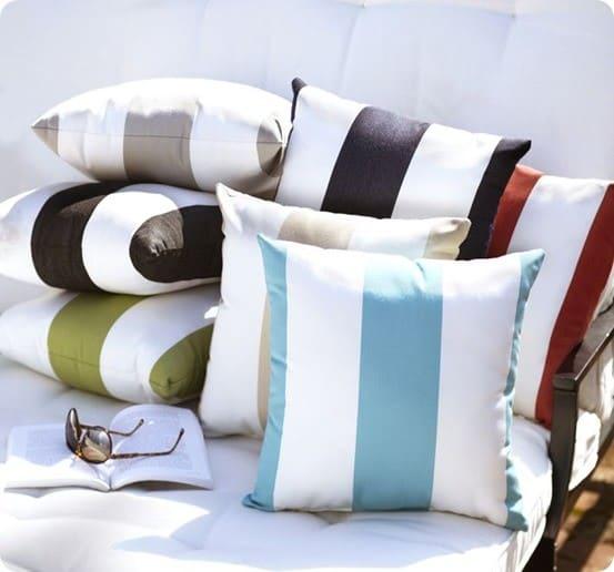 sunbrella awning stripe indoor outdoor pillow