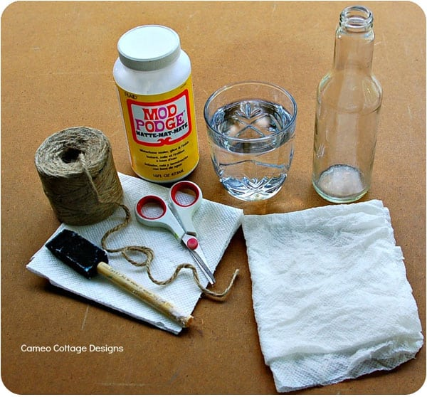 Supplies needed for demijohn DIY