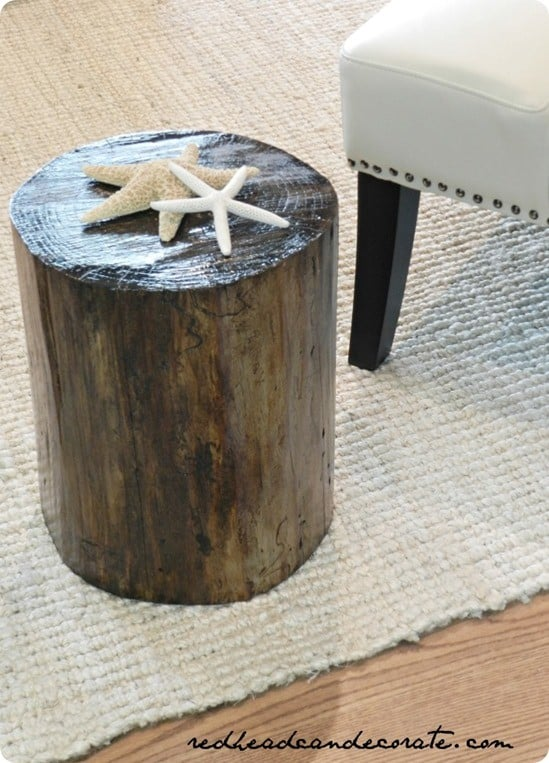 rustic tree stump side table. Black Bedroom Furniture Sets. Home Design Ideas
