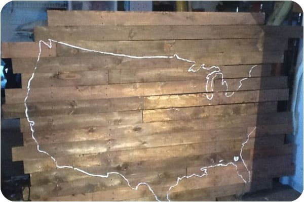 Projecting map up onto wood backdrop