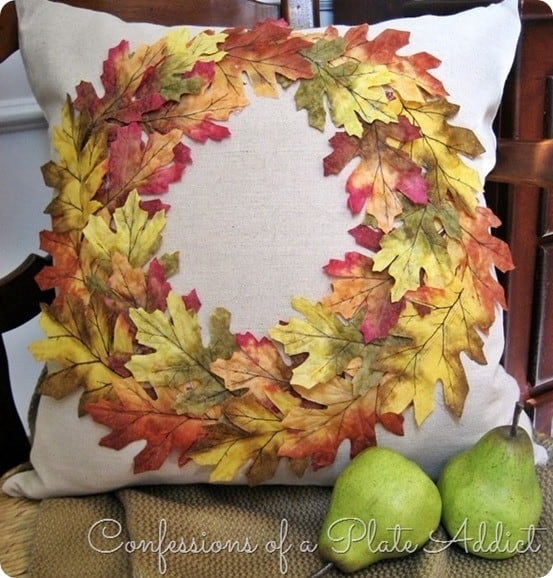 CONFESSIONS OF A PLATE ADDICT Pottery Barn Inspired Fall Wreath Pillow