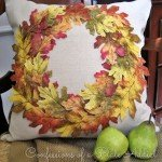 No-Sew Leaf Wreath Pillow Cover