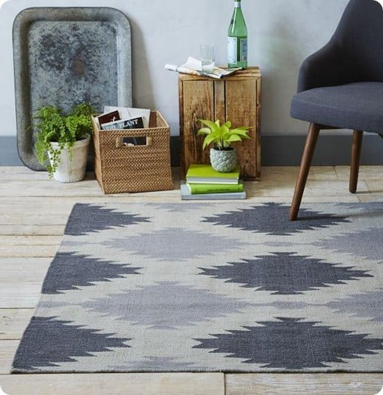 Painted Floor Rug Designs: Geometric Painted Rug For Only $20!