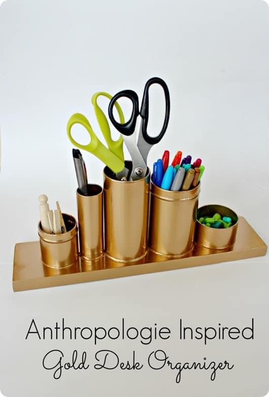 anthropologie inspired gold desk organizer