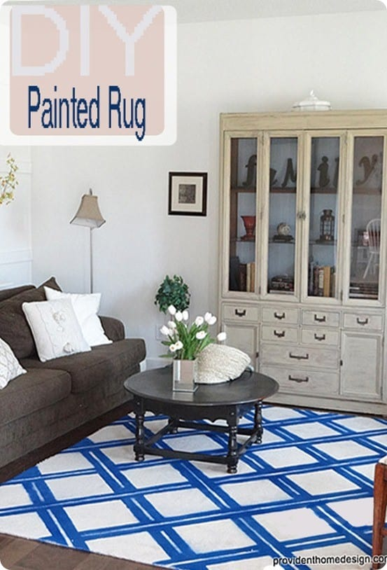 Blue And White Lattice Spray Painted Rug Knockoffdecor Com