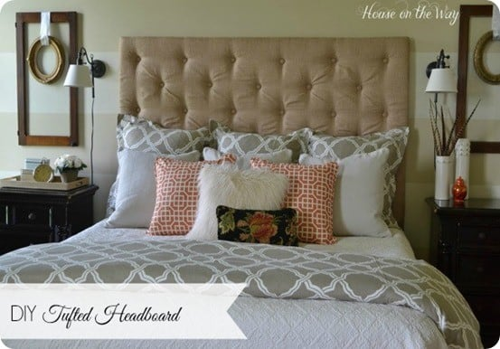 diy tufted fabric headboard