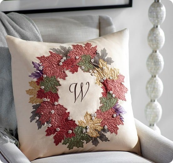 fall leaf embroidered wreath pillow cover