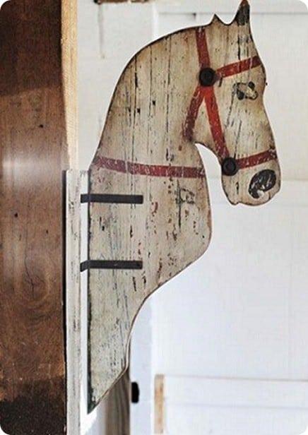 folk art horse head wall mount