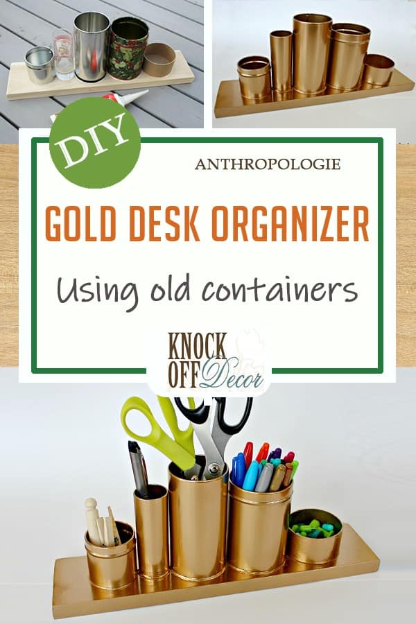 Gold desk organizer containers