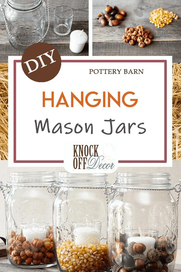 Hanging mason jar filler for fall
