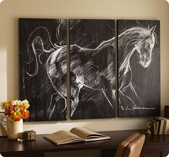 horse planked triptych