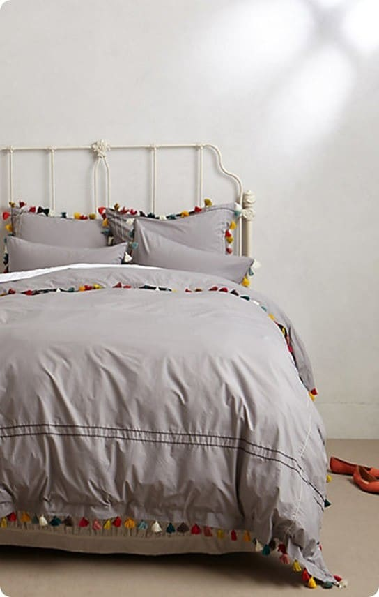 Colorful Tassel Trim Duvet Cover