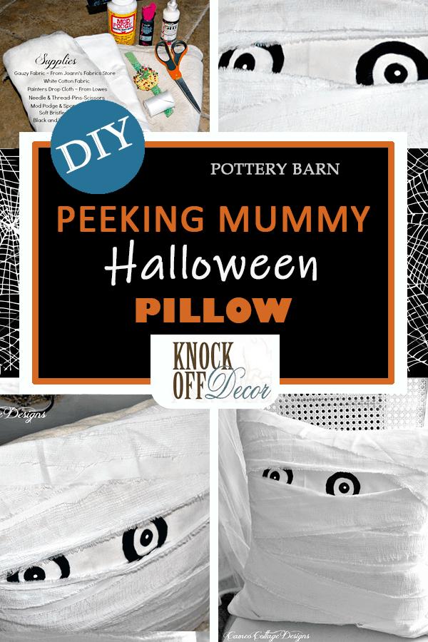 Mummy eyes Halloween throw pillow