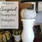 Scripted Newsprint Decoupage Pumpkin
