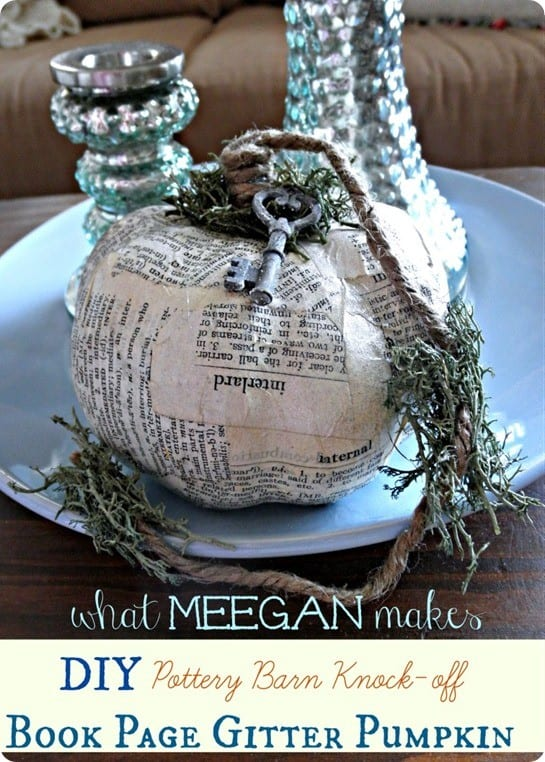 pottery barn inspired book page pumpkin