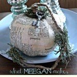 Dictionary Page Decoupage Pumpkin