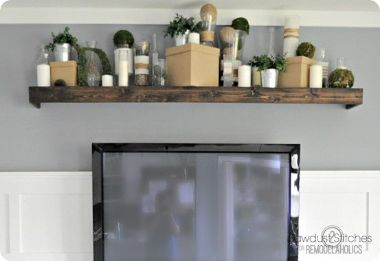 pottery barn inspired floating shelf