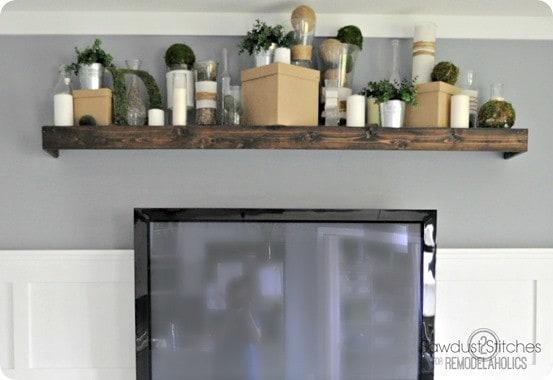 pottery barn inspired floating shelf