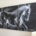 pottery barn inspired horse triptych wall art