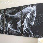 Horse Chalk Art Triptych