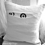 Peeking Mummy Halloween Pillow