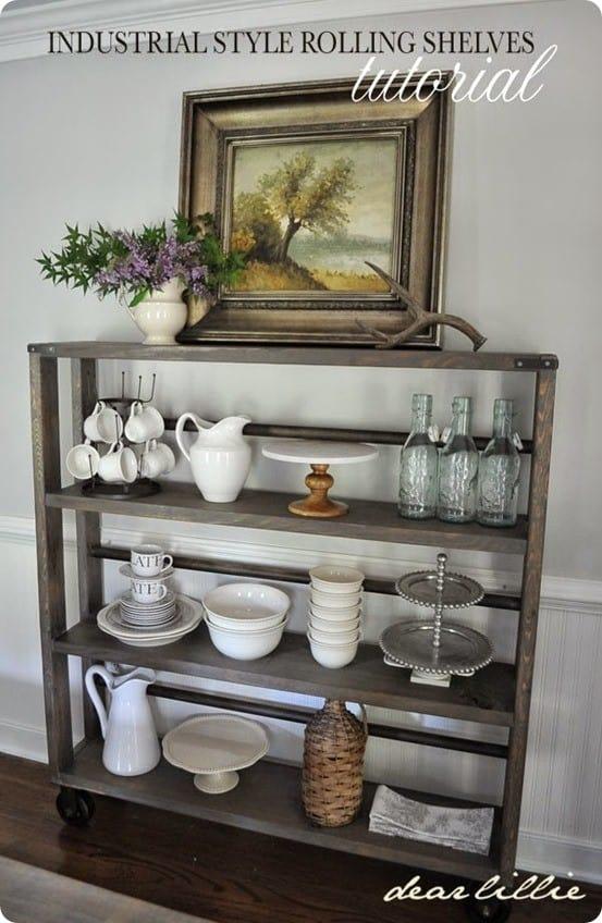 restoration hardware inspired industrial rolling shelves