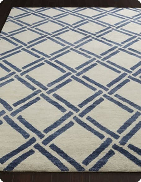 Blue And White Lattice Spray Painted Rug