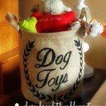 Stenciled Dog Toy Storage Basket