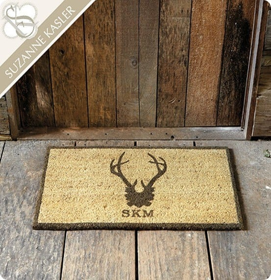 suzanne kasler personalized antler coir mat