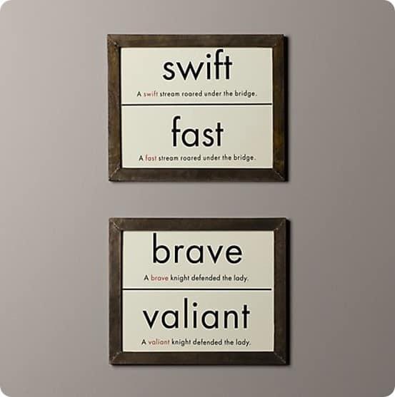 vintage synonym flashcard art