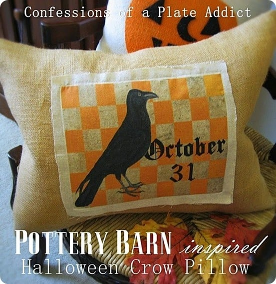 CONFESSIONS OF A PLATE ADDICT Pottery Barn Inspired Halloween Crow Pillow
