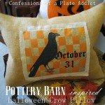 Graphic Crow Burlap Pillow