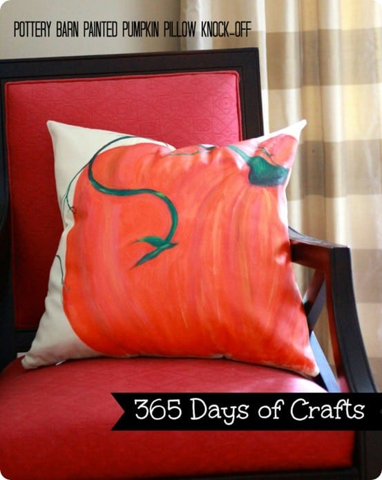 DIY Fall Crafts Pottery Barn painted pumpkin pillow knock off