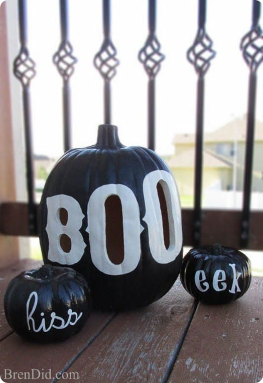 DIY Halloween Decor Black Boo Pumpkin Luminary