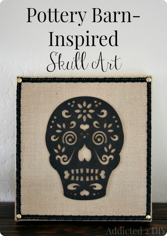 DIY Halloween Decor Pottery Barn Inspired Skull Art