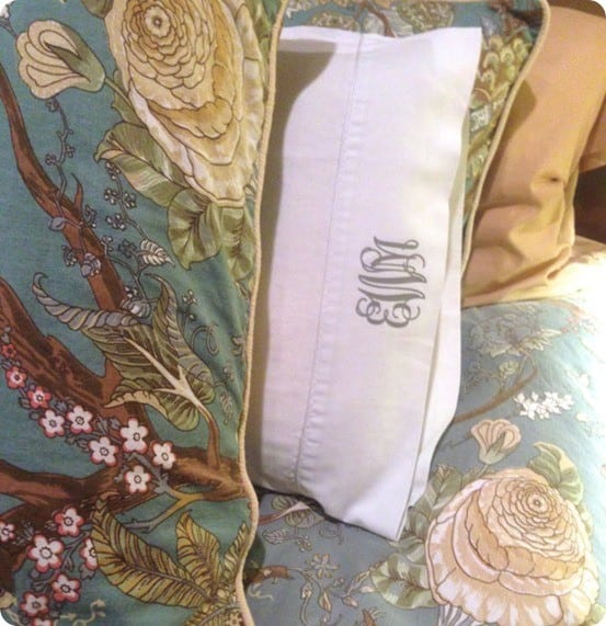 DIY Home Decor Pottery Barn knock off monogram pillowcases