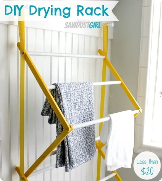 DIY Home Ideas Pottery Barn inspired laundry drying rack