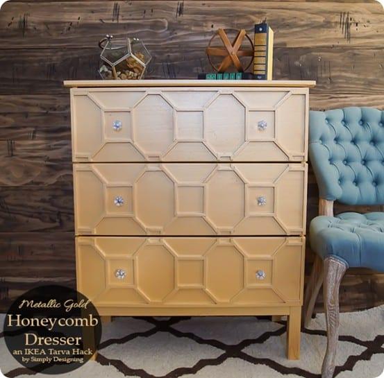 Ikea hack gold honeycomb dresser