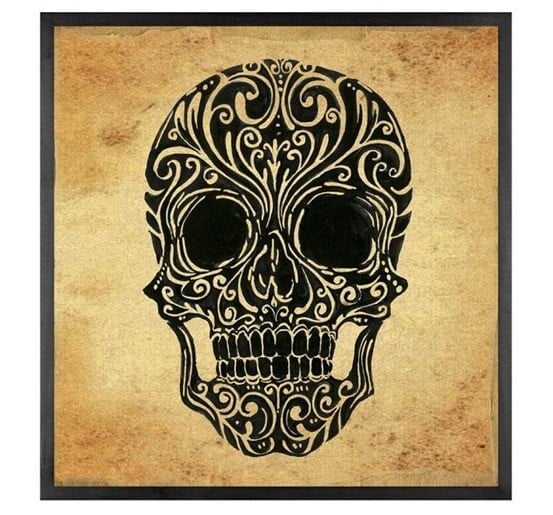 Pottery Barn Canvas Skull Art
